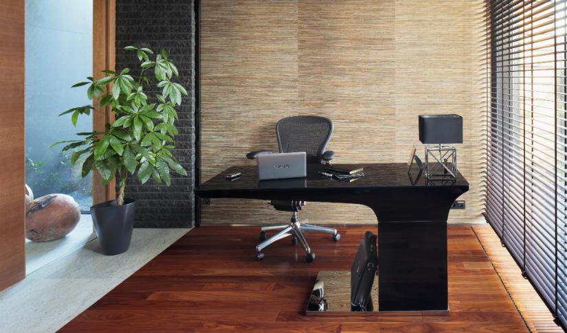 zwart bureau werkkamer plant hout bureaustoel