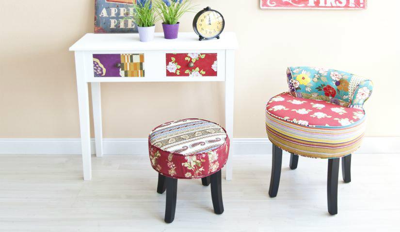 Kolorowy fotel dla dziecka z patchworku