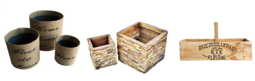 Oryginalne drewniane doniczki