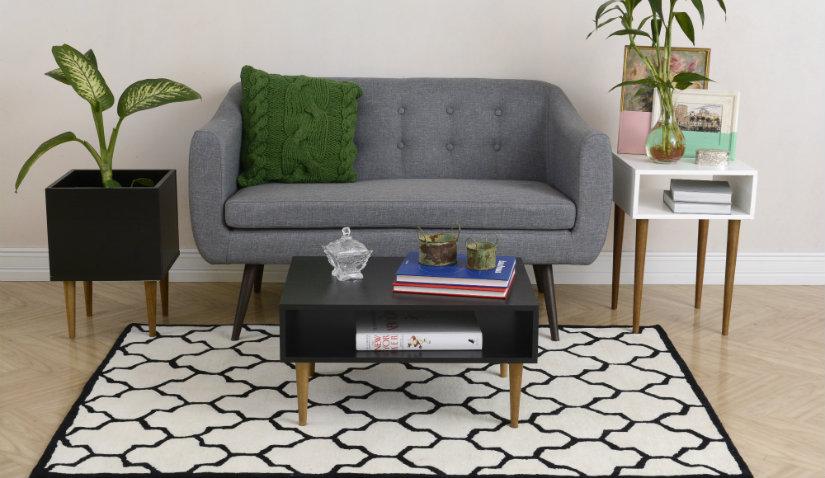 Sofa szara w stylu retro