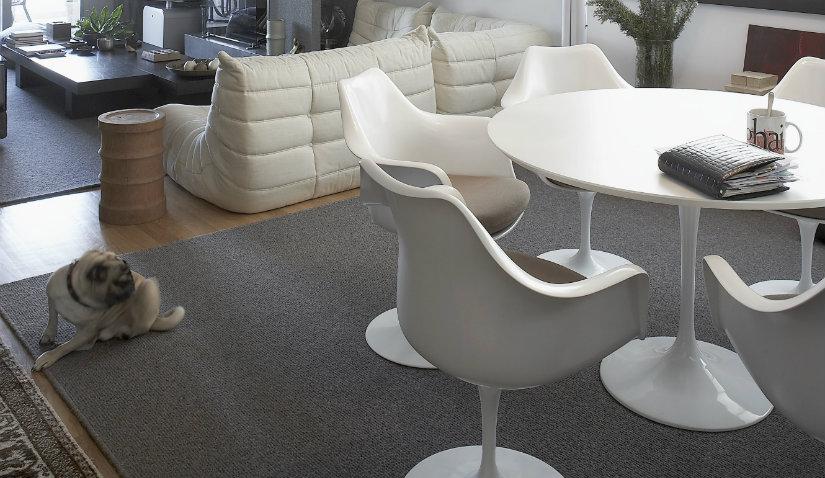 Czarny dywan i białe meble