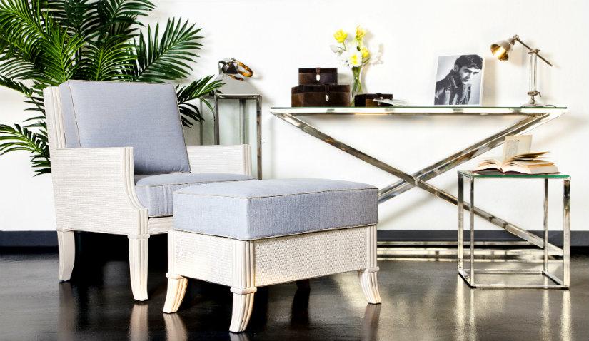 niebieski fotel nowoczesny