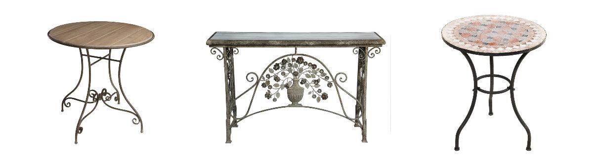 ozdobny stolik metalowy