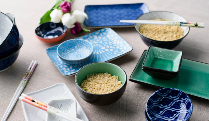 talerze kwadratowe w stylu japońskim