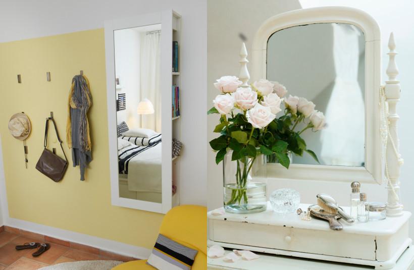 lustro w białej ramie w dwóch odsłonach: nowoczesnej i zdobionej