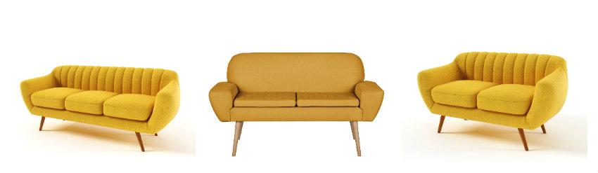 Musztardowa sofa retro