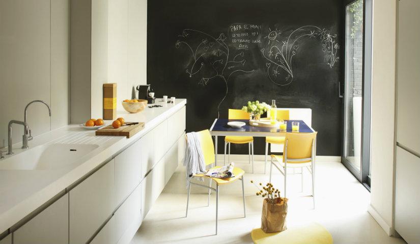 Żółte meble kuchenne w nowoczesnej kuchni