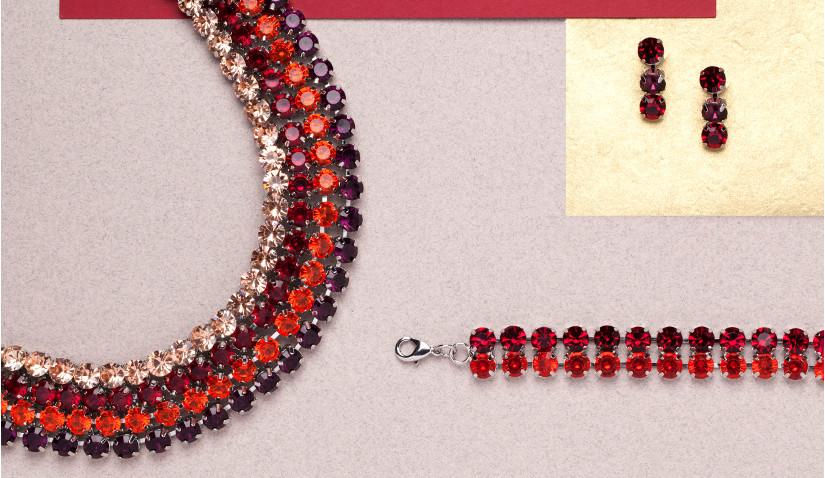 Czerwona bransoletka z kryształkami