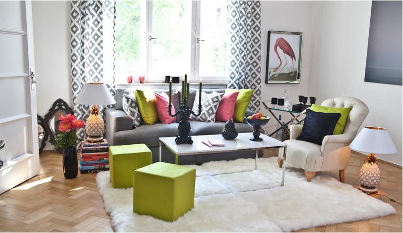 Kolorowy salon w stylu eklektycznym