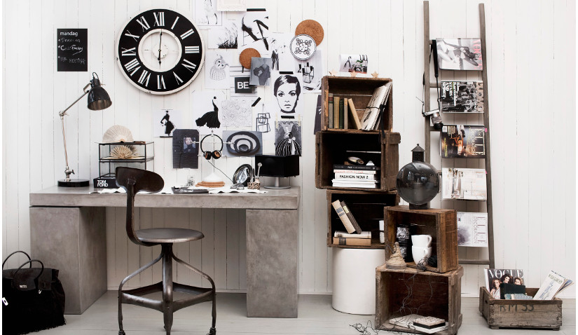 Małe biuro w stylu industrialnym