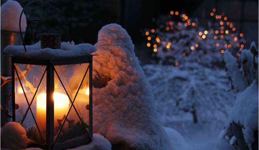 Oświetlenie świąteczne w ogrodzie