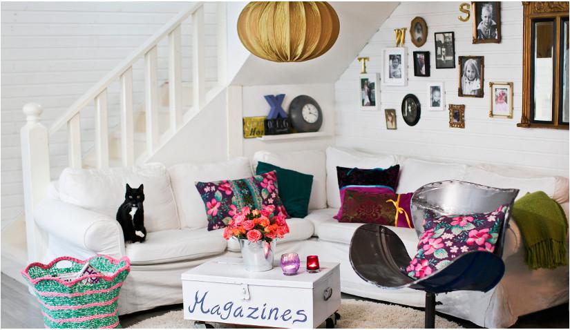 Przytulny salon w stylu eklektycznym