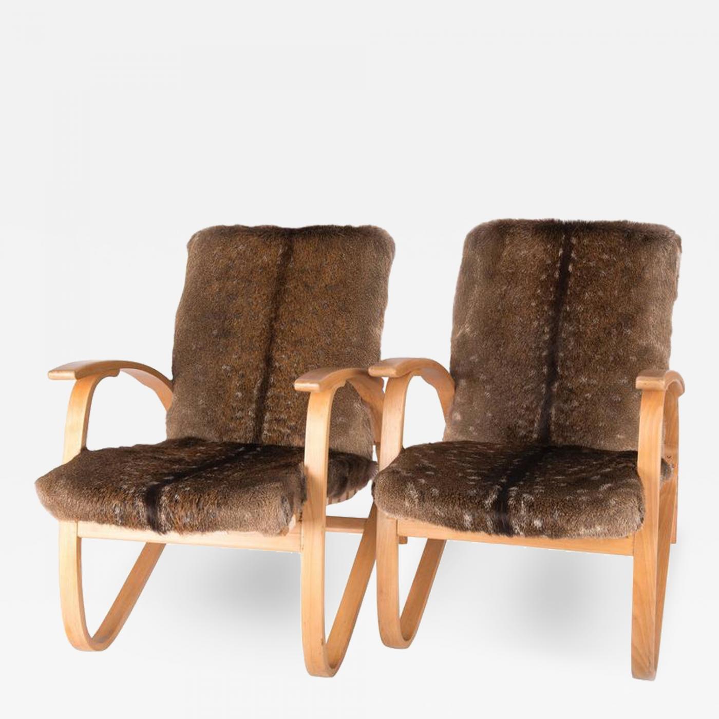 Jindrich Halabala Armchairs with Deer Fur