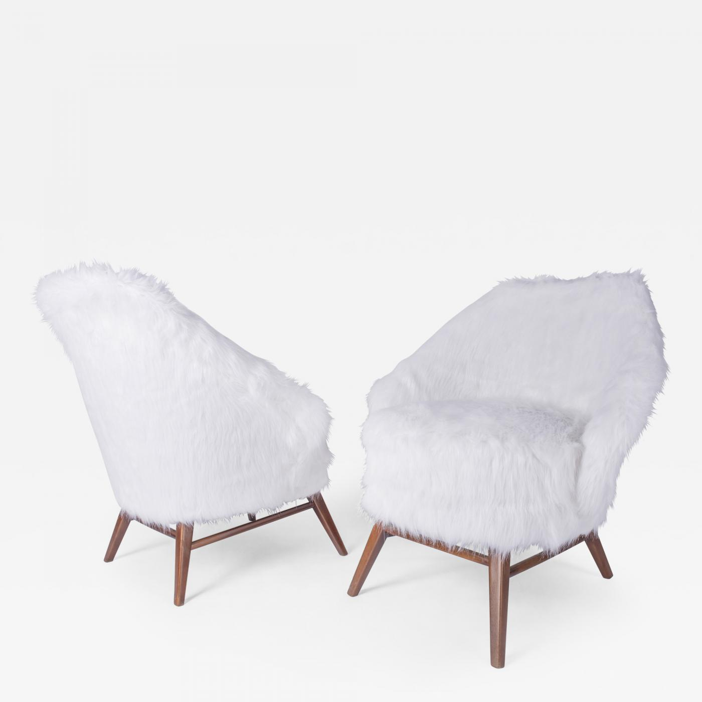 Pair of 1950s Faux Fur Armchairs