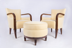 Set of art-deco armchairs and ottoman