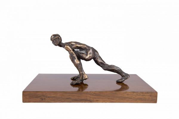 Bronze art-deco sculpture on walnut base