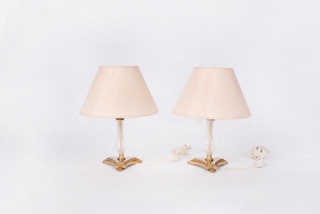 Paire de lampes de chevets en bronze