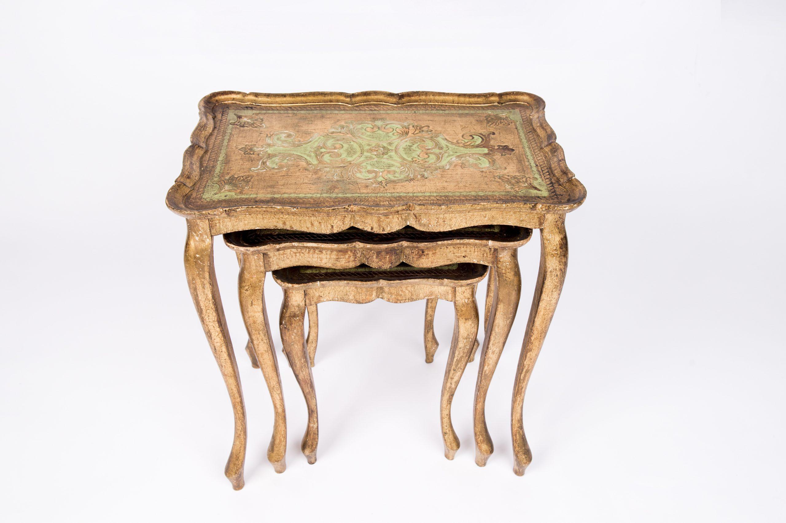 French origin gilded nesting tables