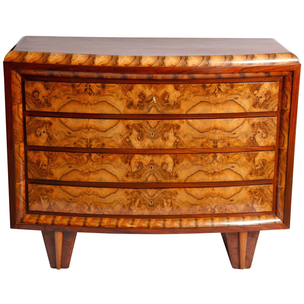 Walnut art-deco chest of drawers