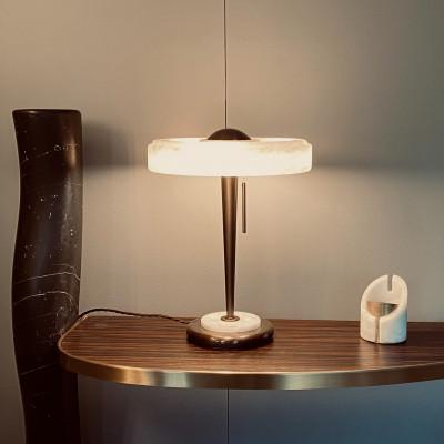 Tafellamp in albast en bronze
