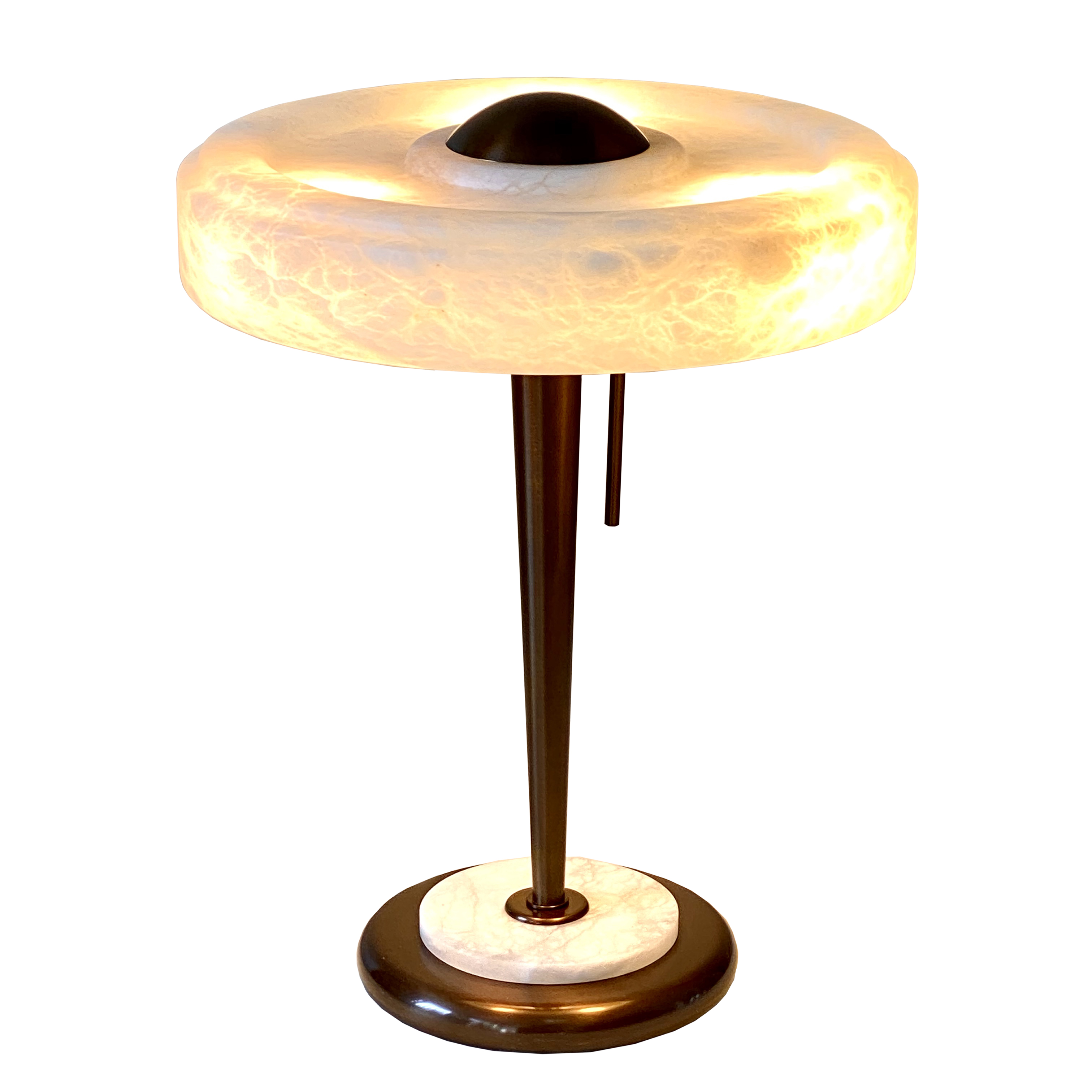 Lampe de table en bronze et albatre