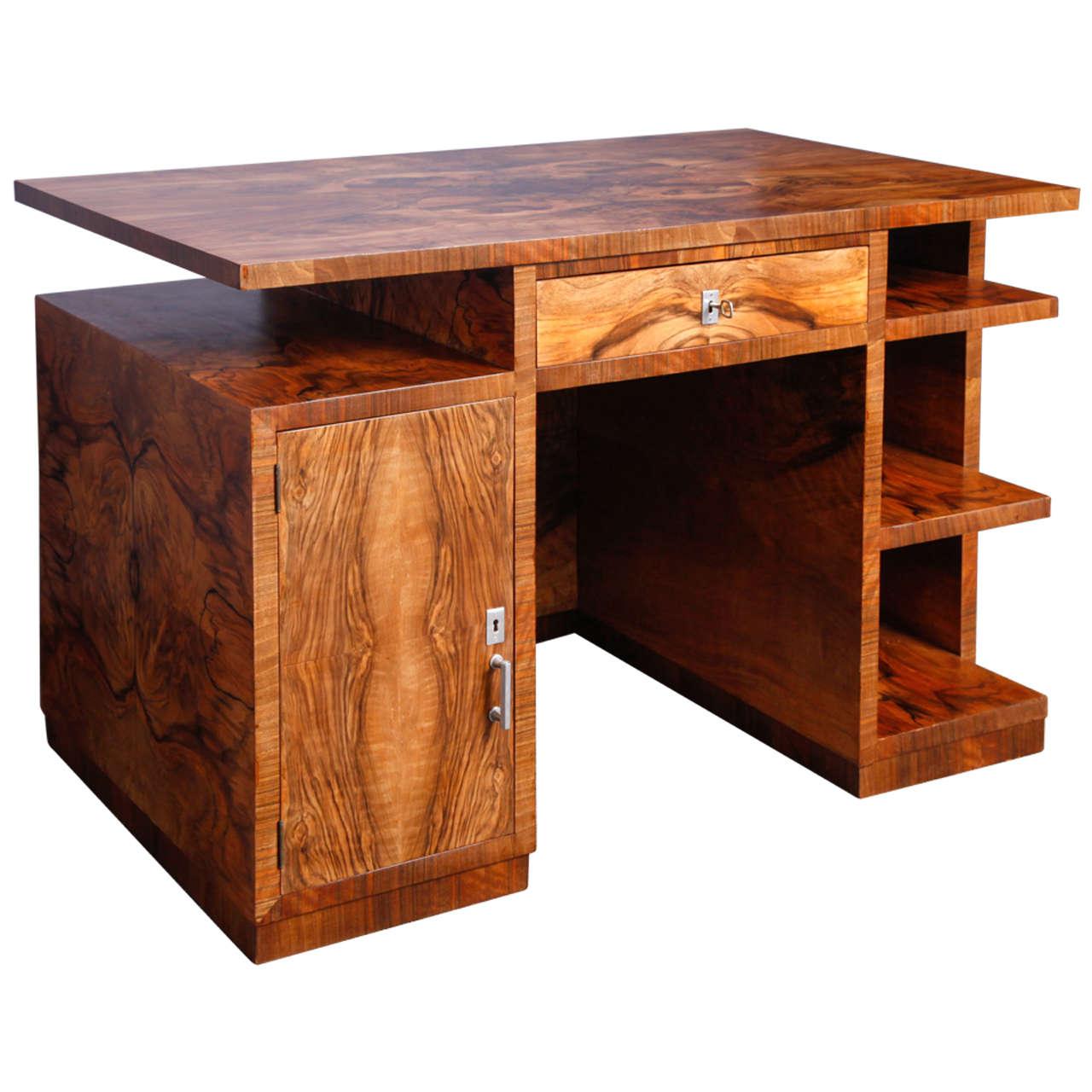Walnut Art-Deco desk
