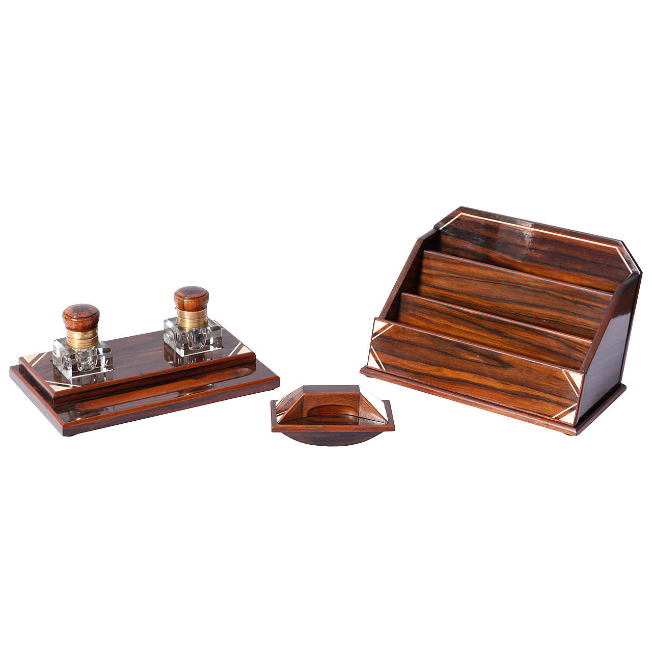 Ebony macassar Art-Deco desk set