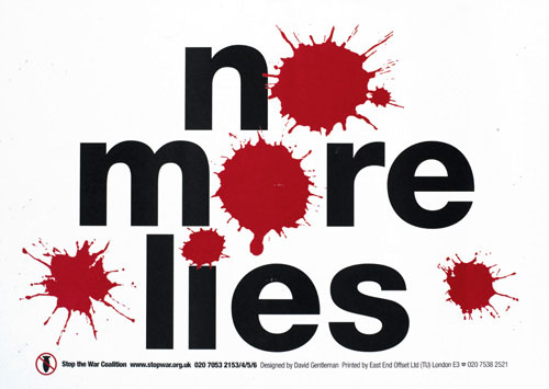 No more lies, designed by David Gentleman for the Stop the War Coalition, 2004
