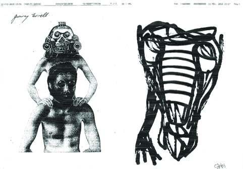 Faxed drawings by UK artist Jimmy Turrell (left) and Brazilian artist Carlos Dias (right)