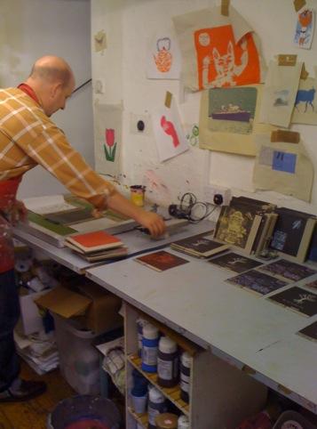 Hannah printing at the Snap Gallery