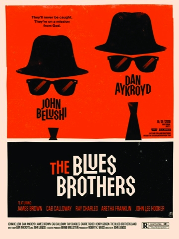 Blues Brothers movie poster for the Rolling Roadshow 2010 by Olly Moss