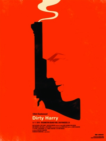 Dirty Harry movie poster for the Rolling Roadshow 2010 by Olly Moss