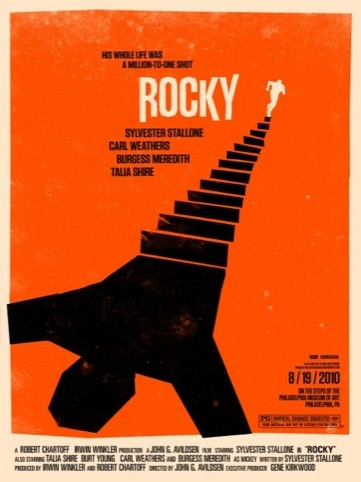 Rocky movie poster for the Rolling Roadshow 2010 by Olly Moss