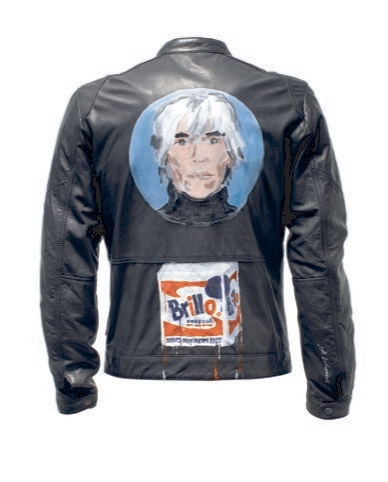 Parisian artist Jean-Phillippe Delhomme's jacket is a Warhol portrait and oddly a Brillo box.