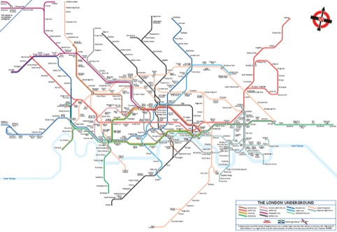 A tube map drawn to better resemble the geographical locations of Tube stops