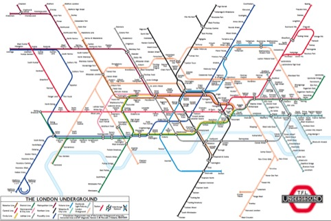 A hexalinear diagrammatic map of the London Underground using only horizontal lines and 60 degree diagonals