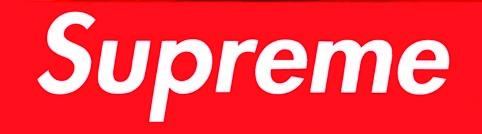 The logo of skateboarding brand Supreme