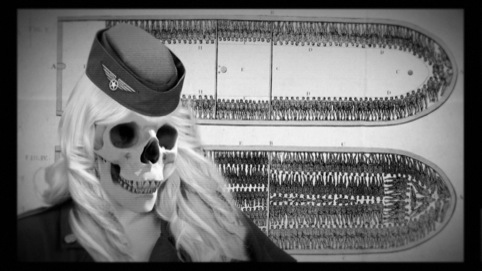 Skeletal air hostesses in the band's video