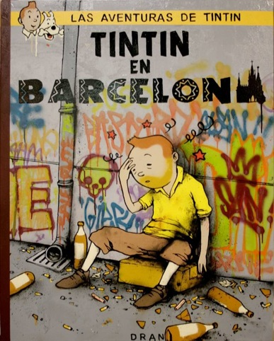Tintin in Barcelona by Dran