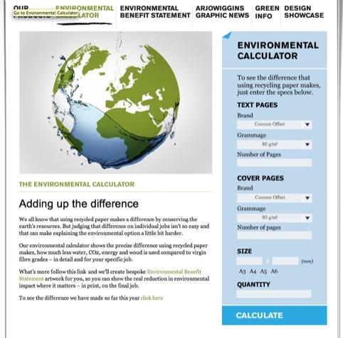 Arjowiggins' environmental calculator