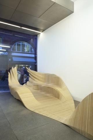 The reception desk also includes a seating area
