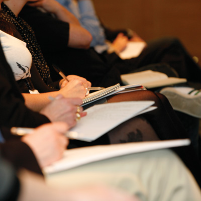 Participants in a DBA training session