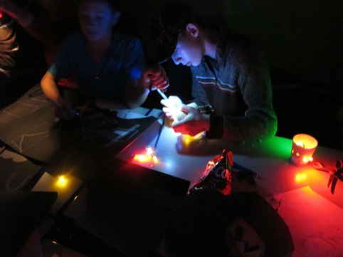 Young people at a light tag workshop