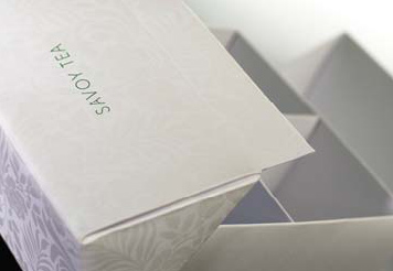 The new packaging for the Savoy hotel's tea by Pentagram