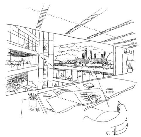 Norman Foster's sketch of Commerzbank