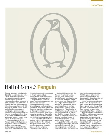 Penguin Books was inducted into the Design Week Hall of Fame at last week's Design Week awards