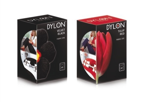 Dylon pack featuring a photoshopped Charlotte, designed by Coley Porter Bell