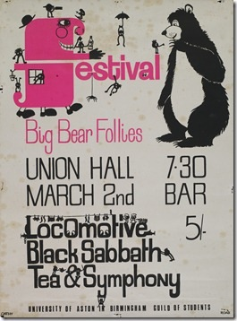 A gig poster featuring Locomotic, Black Sabbath, and Tea  Symphony