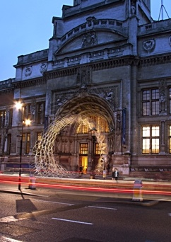 Levete is transforming the entrance of the Victoria and Albert Museum with a 3D lattice work, Spiral (pictured), created in conjunction with the American Hardwood Council.