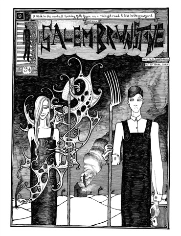 A spread from Salem Brownstone, illustration by Nikhil Singh